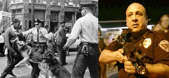 Police use of force on protestors, then and now. Left: Photojournalist Bill Hudson's image of high school student Walter Gadsden being attacked by dogs, as published in The New York Times on May 4, 1963.  Right: St. Ann, MO police officer Ray Albers, who was suspended for pointing his rifle at peaceful protesters. the Image was captured on a protestor's mobile device and shared in a video on Youtube.
