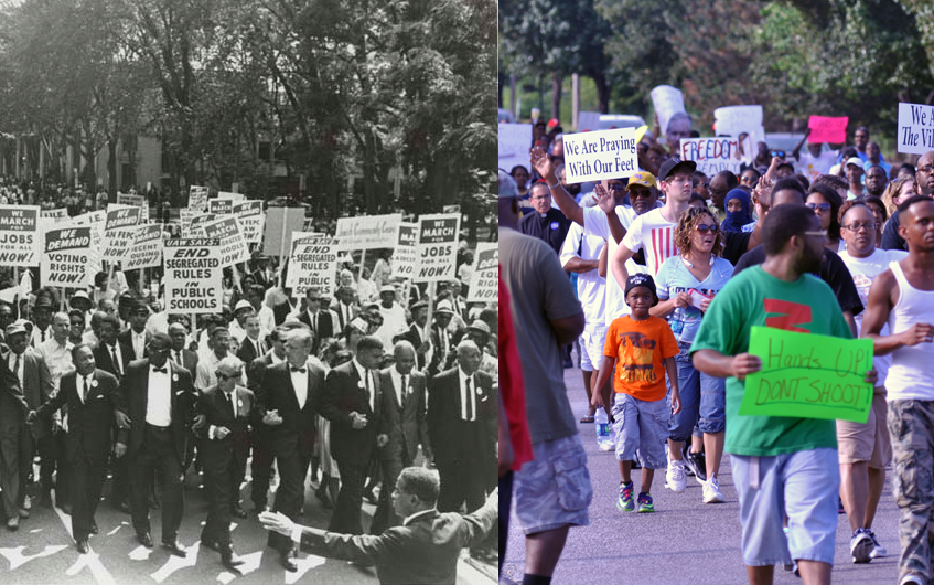 Civil Right marches, then and now. Left: March on Washington for Jobs and Freedom, Martin Luther King, Jr. and Joachim Prinz pictured, 1963.  Right: Protestors demonstrating down West Florissant Ave in Ferguson MO on August 14, 2014.