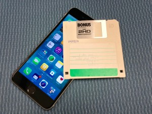 "iPhone and 3.5"" floppy"